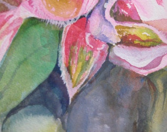 Flowers in Pink,  Watercolor  Painting 7.5 X 9.5 inches by Karen Pratt