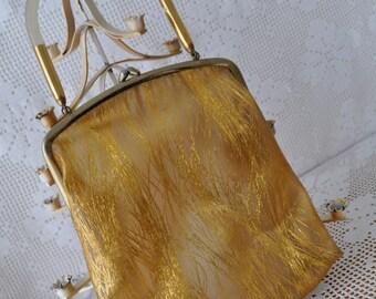 Lucite Handle Handbag/Vintage 1960s/Gold Thread Vinyl Purse/Clear Evening Bag
