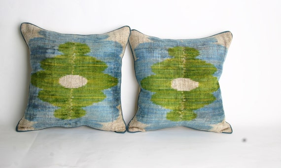 YUNER silk velvet, Ikat pillow cover-(2 pieces )  ,decorative  corduroy pillowcase double pillows -15,2x14,8 inc