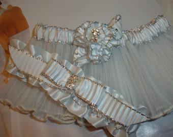 White and Silver Garter/  Bridal Garter/ Keepsake Garter/ Silver Garter/ Pleated White Garter/ Rhinestone Garters/ Vintage Garters