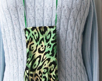 Metallic Animal Print CELLPHONE POUCH Wild Bold Green Cell Bag Android Iphone Necklace - Ships free in US