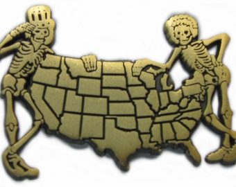 Grateful Dead Coast to Coast Lapel Pin 2.0 Gold