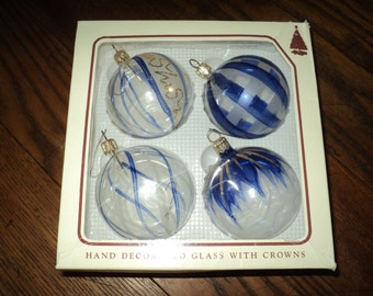 4 Vintage Blue and White  Hand Painted Clear Blown Glass Christmas Tree Ornaments with painted designs in the Original Box in Mint Condition