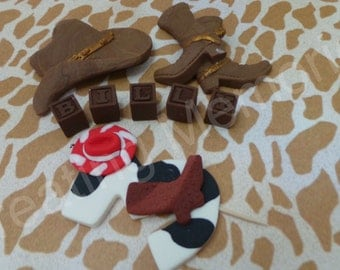Fondant COWBOY/COWGIRL CAKE Set - edible cowboy/cowgirl cake,set. Great for baby showers, first birthday or any age birthday cupcakes