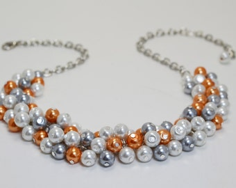 White, Gray and Orange Cluster Necklace, Pearl Cluster, Bridal Jewelry, Chunky Necklace, Gray and Orange Wedding Combo, Gray Pearl Necklace.