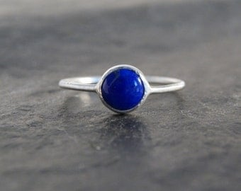 Little Blue Lapis Lazuli Ring in Sterling Silver