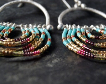 Multicolored Forged Silver and Czech Glass Beaded Statement Earrings