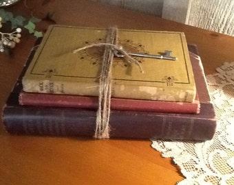 Vintage book bundle, decorative books,  brown and maroon books, vintage wedding, photo shoot