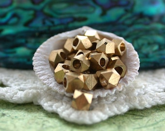 3.5 to 4mm, Raw Brass Spacers, Spacer Beads, Metal Spacer Beads, Diamond Cut Beads, Large Hole Beads, Macrame' Beads  MB-031-25