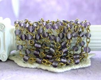 Beaded Chain, Glass Bead Chain, Chain, Bead Chain, Rosary Chain, Jewelry Chain, Brass Chain, Bluish Lavender Bead Chain  CHN-118