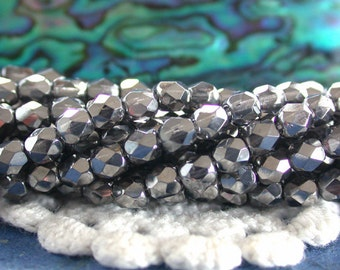 4mm Fire Polished Glass Beads, Czech Glass Beads, Faceted Glass Beads, Chrome Color Beads, Gunmetal Beads CZ-374