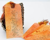 Autumn Tags in Fall Colors with Inspirational Quote by Albert Camus, Set of 5 Tags, Thanksgiving Decor, Autumn Is A Second Spring, Gift Tags