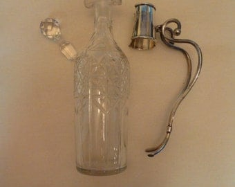 Antique Sterling Silver Decanter Bar Liquor Pitcher Fine Cut Glass or Crystal George A Henckel Co. vintage