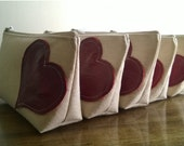 Set of 5 Bridesmaid Gifts, Leather Clutches, Beige Linen, Rustic Wedding Purses