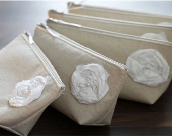 Set of 5 Bridesmaid Gifts, Linen Clutches, Beige, Rustic Wedding Purses