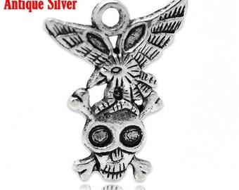 SALE 20 Skull Pendants - WHOLESALE - Antique Silver - Skull Cross Bones with Eagle - 21X27mm - Ships IMMEDIATELY from California - SC770a