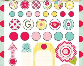 "SALE Echo Park ""Sweet Girl"" - Assorted Cute Brad Embellishments - 30 pcs"