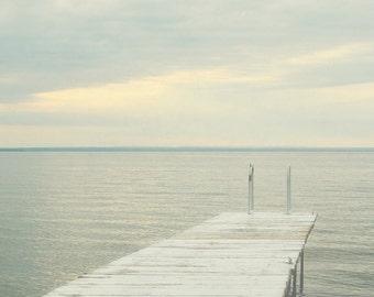 Lake Photograph, Gray Wall Art, Lake House Decor, Coastal Photography, Oversized Print, Cottage Artwork