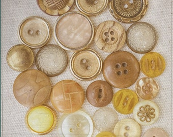 Yellow Photograph, Gold Wall Art, Button Artwork, Sewing Room Decor, Craft Photograph, Still Life Photography