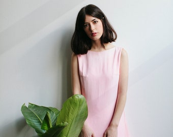 60s Pink Mod Mini Dress | Bow and Marabou Feathers