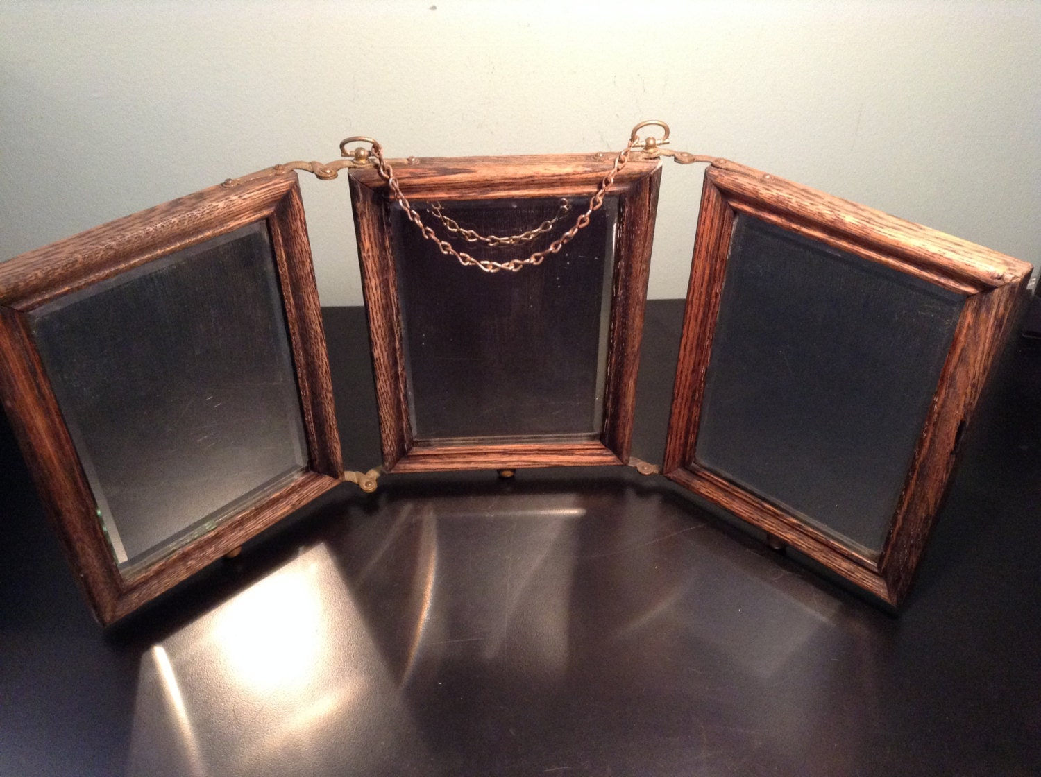 Antique Oak Tri Fold Shaving Mirror With Brass Hardware And
