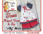 Girl's Peasant Top Pattern, Girl's Peasant Dress Pattern. Long Sleeve Toddler Dress Pattern. Infant Short Sleeve Dress pdf Pattern. Tessa