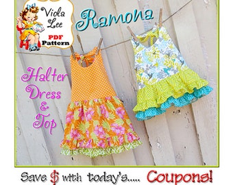 Ramona... Girl's Sewing Pattern. Girl's Halter Dress Pattern , Top Pattern. Toddler Dress Pattern. Girl's Top Pattern,  pdf Sewing Pattern.