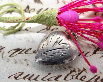 """Antique Sterling Heart Charm Engraved """"Marg"""", Victorian Silver Puffy Friendship Heart"""