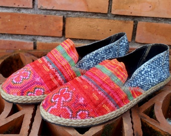 Embroidered Flat Womens Shoes Vegan Ethnic Hmong Indigo Batik- Morgan