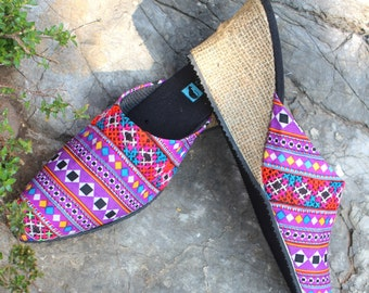 Lavender Hmong Embroidered  Slide Womens Shoes Wedge Heel Vegan - Veronica