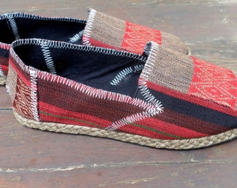 Tribal Womens Shoes Slip on Vegan Loafer In Red And Tan Ethnic Naga Textiles - Morgan