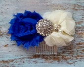 Bridal Hair Comb, Royal Blue and Ivory Hair Clip, Wedding Hair Clip, Bridesmaid Hair Clip, CUSTOMIZE IT, Flower Girl