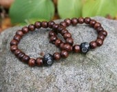 His and Hers His and His Hers and Hers Yogi inspired Buddha bracelet with wood beads, swirl design black bone bead for men or women