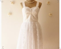 Strap White Lace Dress Vintage Inspired Lace Dress Party Wedding Bridal Shower Engagement Once Silhouette Upon A Time -Size XS-XL,custom