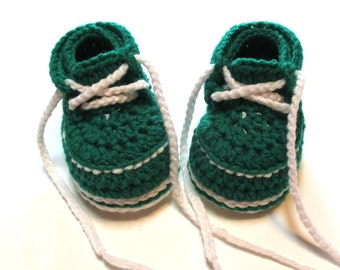 Made in Michigan State baby booties.  Green and white work boot, shoe booties.  Made to order.  3-6 months, 6-12 months.