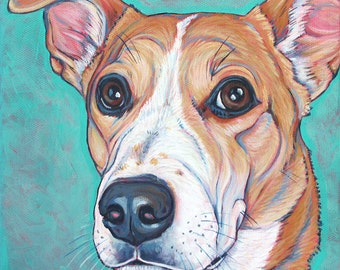 "8"" x 8"" Custom Pet Portrait Painting in Acrylic Paint on Canvas of One Dog, Cat, or Other Animal Ready to Hang Painted around the Edges"