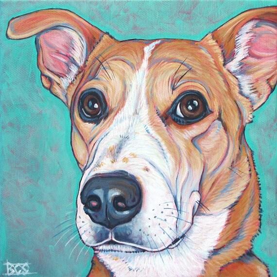 8 x 8 custom pet portrait painting in acrylic