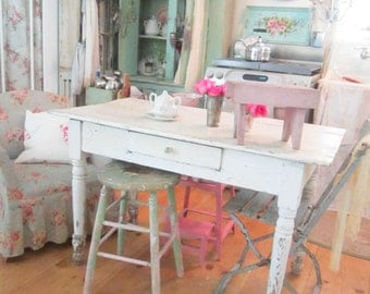 Shabby chic Chippy pink vintage stool    farmhouse cottage romantic vintage shabby chic prairie