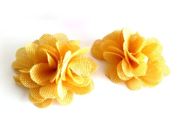 1 Pc - Yellow Burlap Flowers - 3 inch Folded Flowers