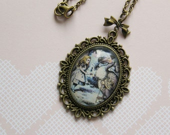 Alice in Wonderland 'Alice and the Dodo' Large Cameo Necklace