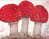 """Mushrooms, Red and White Toadstools -  FREE SHIPPING - 7"""" x 5 inches Vibrant Modern  Original Watercolor Painting by Ricky Martin"""