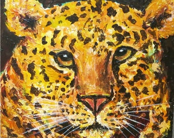 Golden Leopard, Africa, Nursery, Kids, Teens, Boys, Girls - Original Acrylic Impasto  Painting by ebsq Artist Ricky Martin FREE SHIPPING