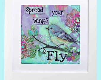 teen wall art bird theme decor spread your wings purple turquoise pink - Teen Wall Decor