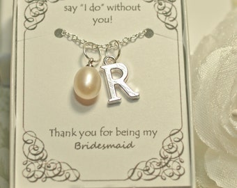 Personalized Bridesmaid Necklace - BM03 - Pearl Bridesmaid Necklace - Bridesmaid Gift - Authentic Freshwater Solitaire Pearl Pendant