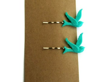 Turquoise swallow bird hair slides bobby pins wedding uk womens spring accessories