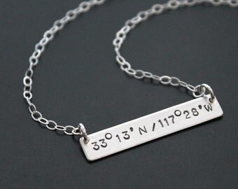 Sterling Silver Hand Stamped Latitude Longitude Coordinates Necklace Charms RECTANGLE Personalized Handmade Anniversary Wedding Engagement