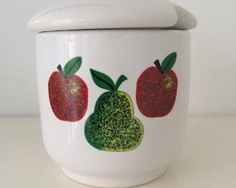 Vintage Apples and Pear Print Jam/Chutney Pot