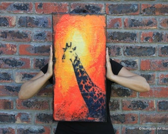 Giraffe original mixed media collage art, african animals, nomadah art studio, south africa, yellow, orange, red, vintage verdi opera german