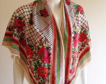 Vintage Emanuel Ungaro Vibrant Floral Picnic Scarf Shawl