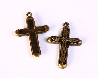 6 cross pendant antique brass antique bronze 31mm x 20mm 6pcs (1215) - Flat rate shipping